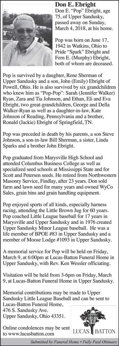 Don E  Bright - Marysville Journal-Tribune