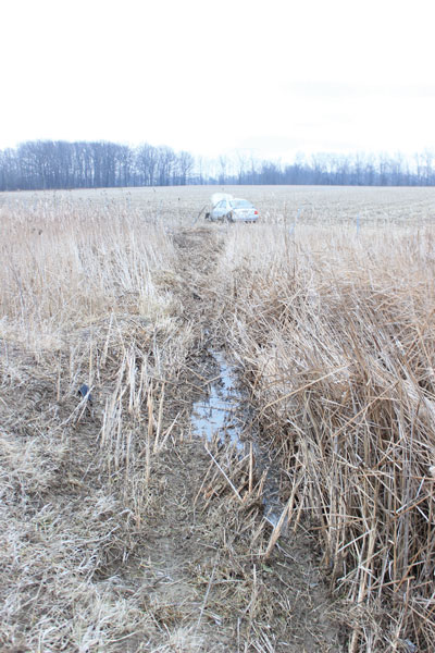 Driver injured after crashing into field